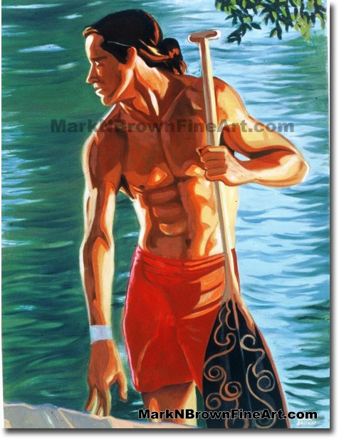 Dawn Paddler - 1 | Hawaii Art by Hawaiian Artist Mark N. Brown | Plein Air