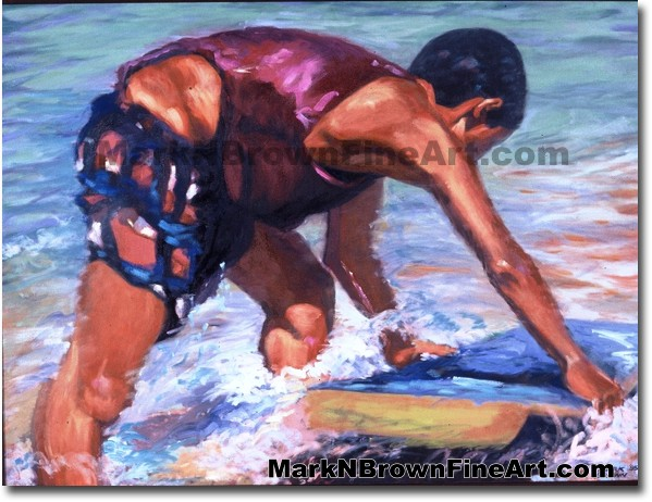 Paipo Boy - 1 | Hawaii Art by Hawaiian Artist Mark N. Brown | Plein Air Pai