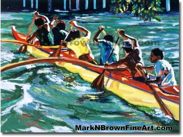 Ala Wai Run - 1 | Hawaii Art by Hawaiian Artist Mark N. Brown | Plein Air P
