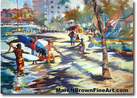 Waikiki Surf Lesson | Hawaii Art by Hawaiian Artist Mark N. Brown | Plein A