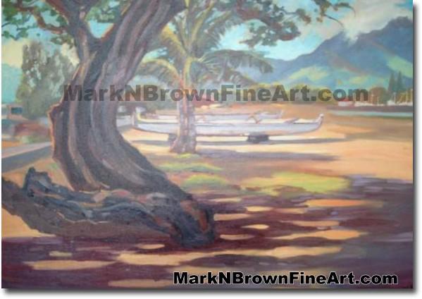 Canoes At Haleiwa | Hawaii Art by Hawaiian Artist Mark N. Brown | Plein Air