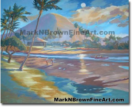 Koko Head At Moonlight | Hawaii Art by Hawaiian Artist Mark N. Brown | Plei