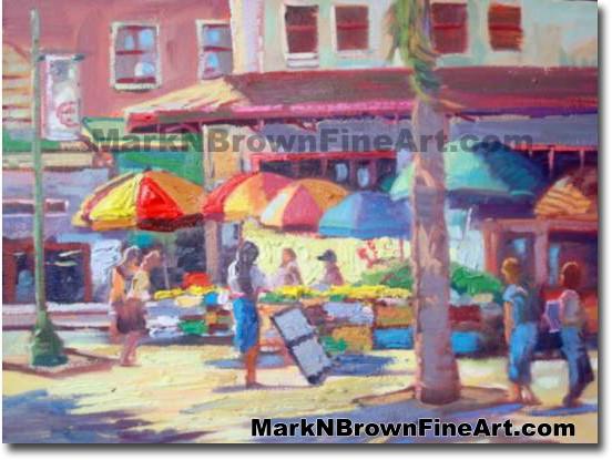 Shoppers In Chinatown | Hawaii Art by Hawaiian Artist Mark N. Brown | Plein