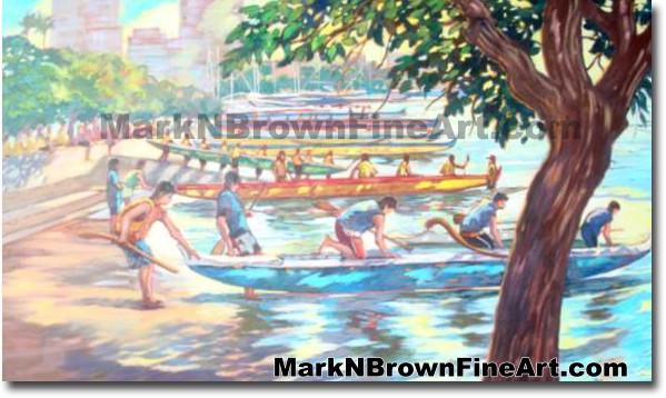 I L H Regatta | Hawaii Art by Hawaiian Artist Mark N. Brown | Plein Air Pai