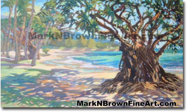 Punalu'u Beach | Hawaii Art by Hawaiian Artist Mark N. Brown | Plein Air Pa