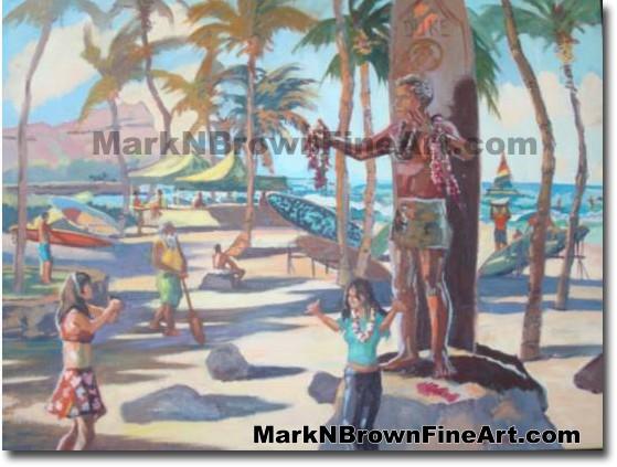 Photo With The Duke | Hawaii Art by Hawaiian Artist Mark N. Brown | Plein A