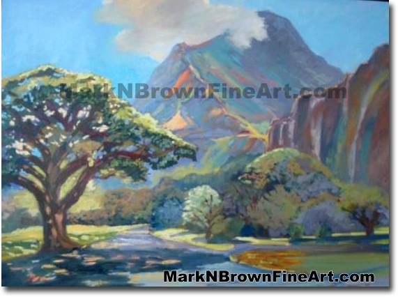 Ho'omaluhia | Hawaii Art by Hawaiian Artist Mark N. Brown | Plein Air Paint