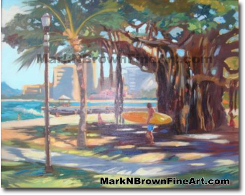 Queens Beach Waikiki - 1 | Hawaii Art by Hawaiian Artist Mark N. Brown | Pl