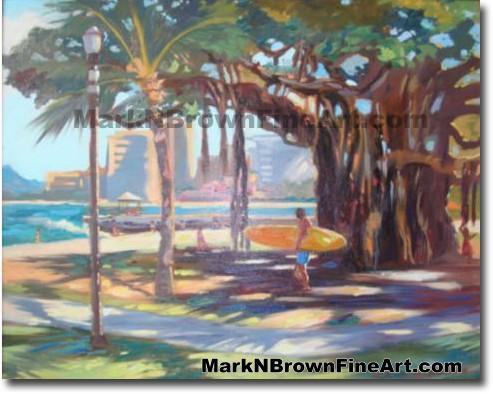 Queens Beach Waikiki - 1 | Hawaii Art by Hawaiian Artist Mark N. Brown | Pl