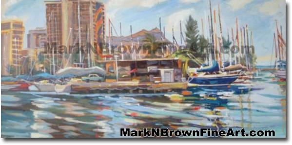 Ala Wai - 1   Hawaii Art by Hawaiian Artist Mark N. Brown   Plein Air Paint