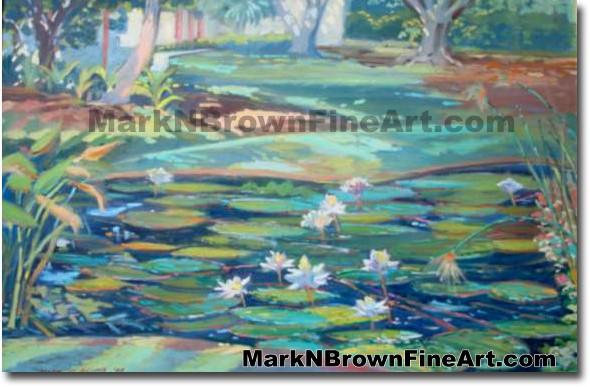 Shangra -Dla Lily Pond   Hawaii Art by Hawaiian Artist Mark N. Brown   Plei