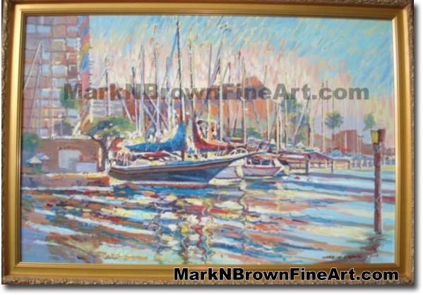 Magic Island Marina | Hawaii Art by Hawaiian Artist Mark N. Brown | Plein A