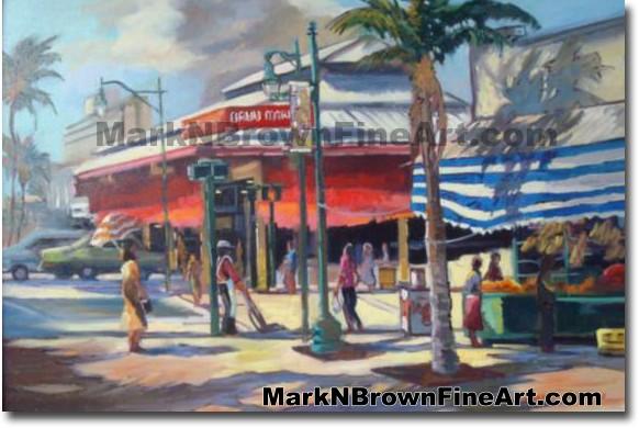 Oahu Market - Chinatown - 1 | Hawaii Art by Hawaiian Artist Mark N. Brown |