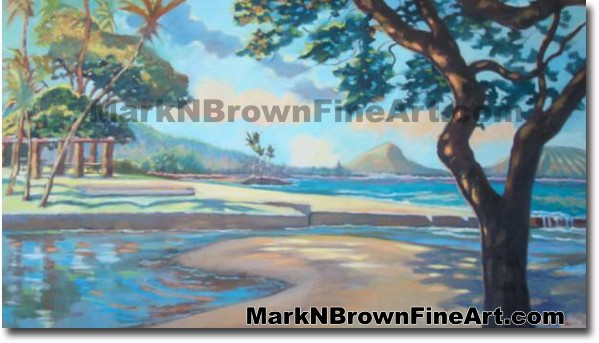 Kahala Beach Park   Hawaii Art by Hawaiian Artist Mark N. Brown   Plein Air