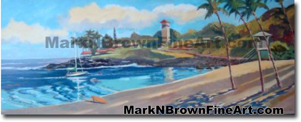Waimea Bay - 1 | Hawaii Art by Hawaiian Artist Mark N. Brown | Plein Air Pa