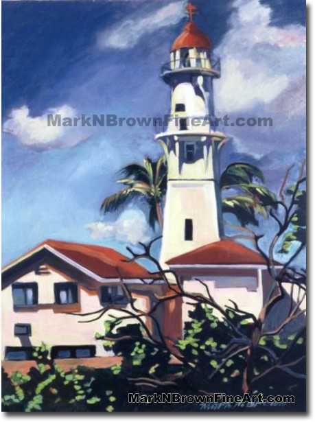 Diamond Head Lighthouse | Hawaii Art by Hawaiian Artist Mark N. Brown | Ple