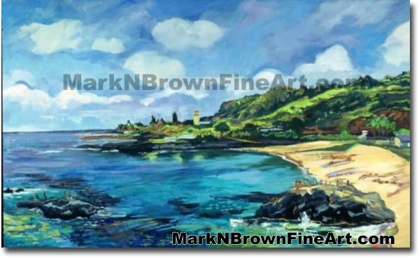 Waimea Bay - 2   Hawaii Art by Hawaiian Artist Mark N. Brown   Plein Air Pa