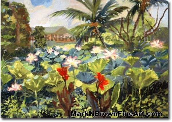 Haleiwa Lotus Garden - 1 | Hawaii Art by Hawaiian Artist Mark N. Brown | Pl
