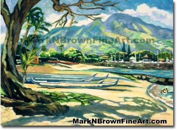 A Lazy Day In Haleiwa | Hawaii Art by Hawaiian Artist Mark N. Brown | Plein