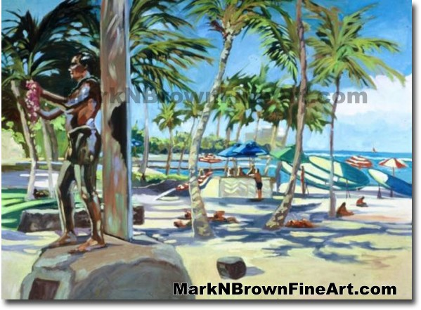 Duke At Waikiki | Hawaii Art by Hawaiian Artist Mark N. Brown | Plein Air P