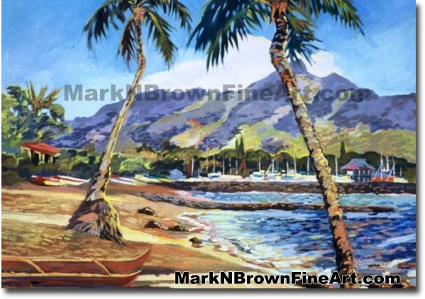 Canoe At Haleiwa Beach Park   Hawaii Art by Hawaiian Artist Mark N. Brown  