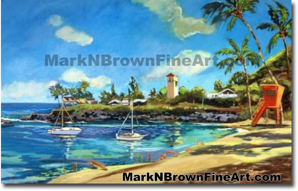 Orange Tower At Waimea Bay | Hawaii Art by Hawaiian Artist Mark N. Brown |