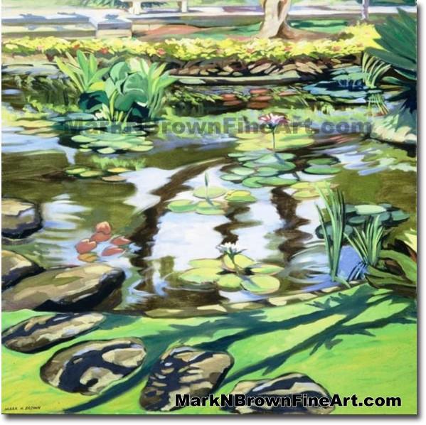 Krauss Hall Lily Pond/ U. Of H. Campus | Hawaii Art by Hawaiian Artist Mark