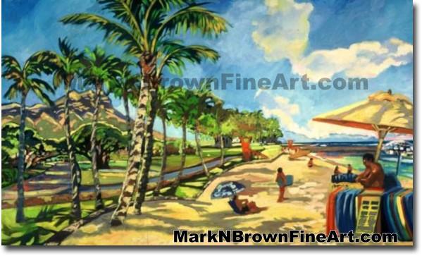 Waikiki Surf Stand | Hawaii Art by Hawaiian Artist Mark N. Brown | Plein Ai