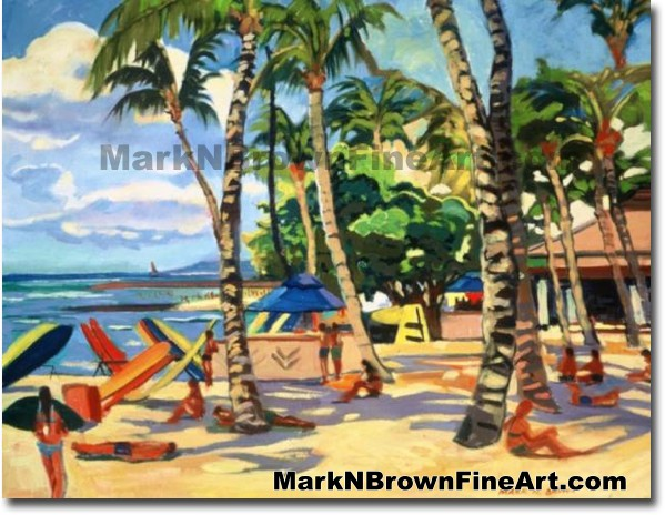 Waikiki Beach Series #1 | Hawaii Art by Hawaiian Artist Mark N. Brown | Ple