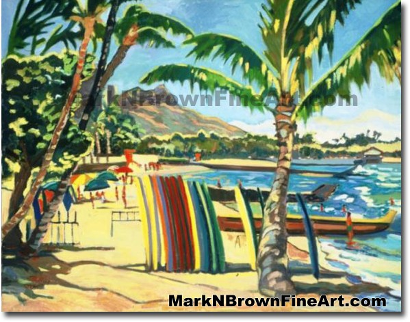 Waikiki Beach Series #3 | Hawaii Art by Hawaiian Artist Mark N. Brown | Ple