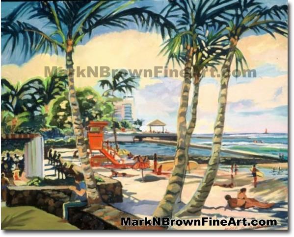 Waikiki Beach Series #4 | Hawaii Art by Hawaiian Artist Mark N. Brown | Ple