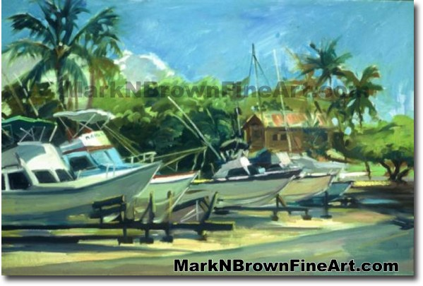 Haleiwa Harbor Boats | Hawaii Art by Hawaiian Artist Mark N. Brown | Plein