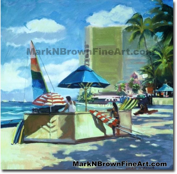 Waikiki Surf Rental | Hawaii Art by Hawaiian Artist Mark N. Brown | Plein A
