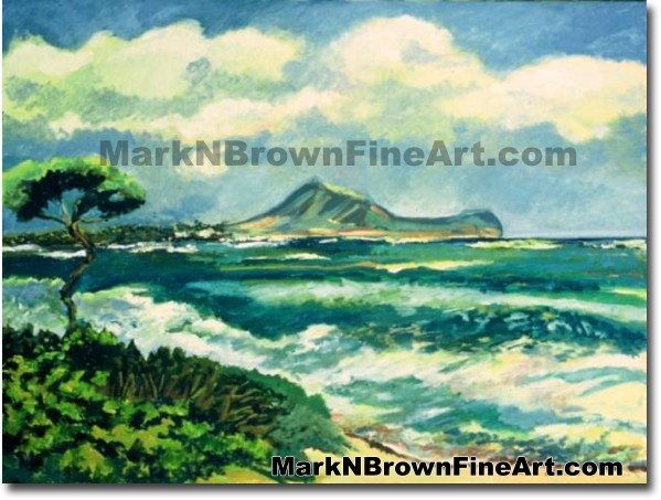 Kalama Beach/ Kailua | Hawaii Art by Hawaiian Artist Mark N. Brown | Plein