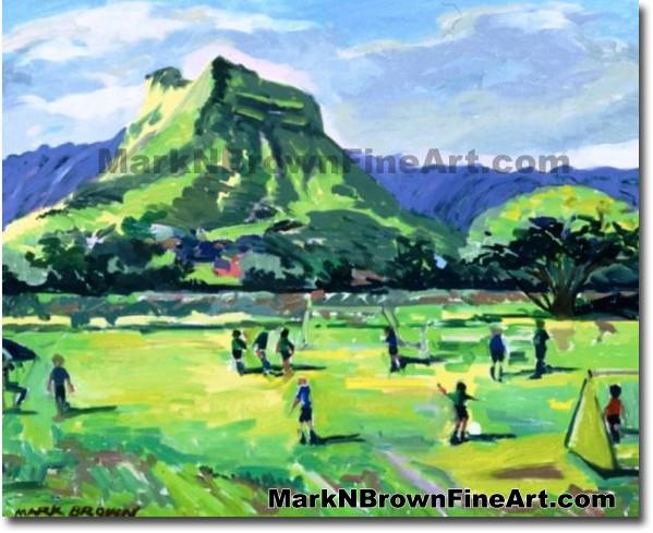 Olomana Soccer Players | Hawaii Art by Hawaiian Artist Mark N. Brown | Plei