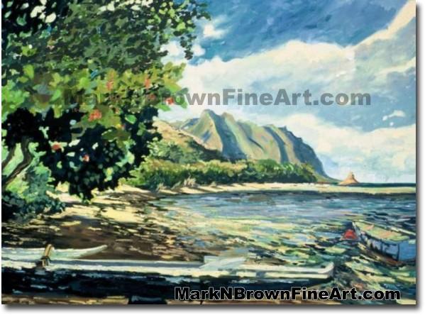 He'iea Canoes | Hawaii Art by Hawaiian Artist Mark N. Brown | Plein Air Pai