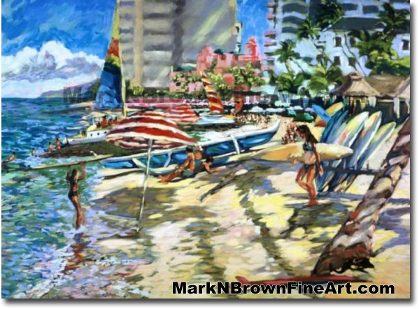Waikiki Playground | Hawaii Art by Hawaiian Artist Mark N. Brown | Plein Ai