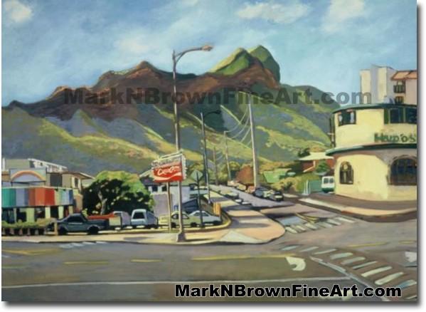 Rainbow Drive In/Kapahulu | Hawaii Art by Hawaiian Artist Mark N. Brown | P