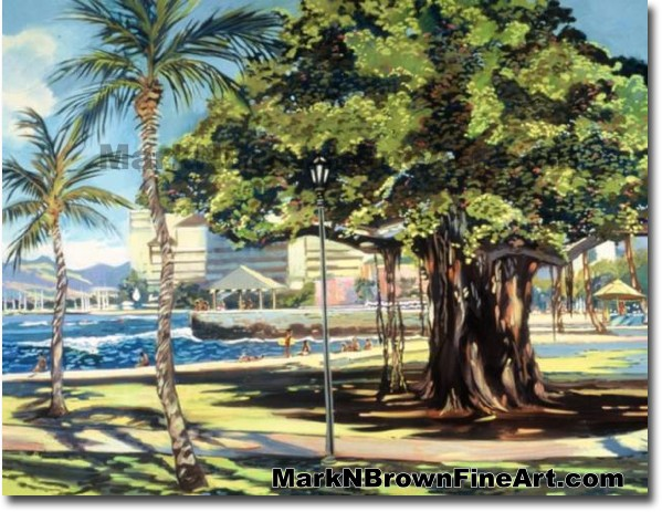 Queens Beach Waikiki - 2 | Hawaii Art by Hawaiian Artist Mark N. Brown | Pl