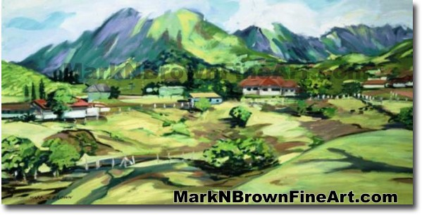 View Of Ko'olaus | Hawaii Art by Hawaiian Artist Mark N. Brown | Plein Air