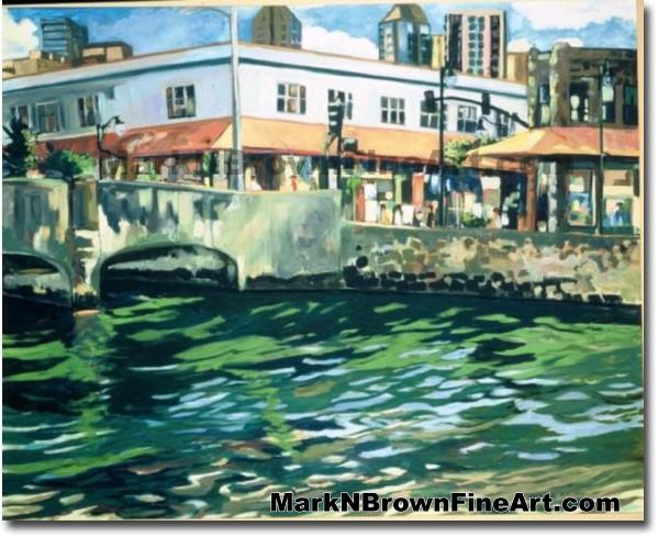 River & Hotel St. | Hawaii Art by Hawaiian Artist Mark N. Brown | Plein Air