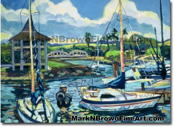 Ready To Sail At Haleiwa Harbor | Hawaii Art by Hawaiian Artist Mark N. Bro