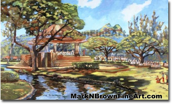 Kapiolani Bandstand | Hawaii Art by Hawaiian Artist Mark N. Brown | Plein A