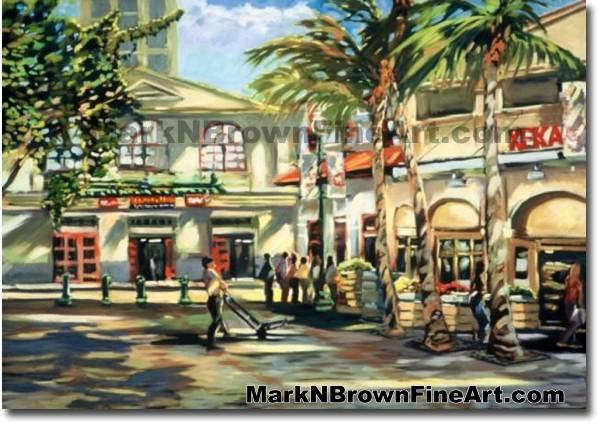 Kekaulike Market/Chinatown | Hawaii Art by Hawaiian Artist Mark N. Brown |