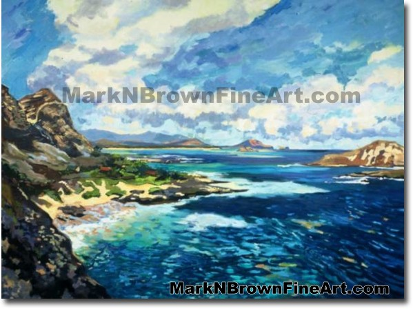 Makapu'u Cliffs In Blue | Hawaii Art by Hawaiian Artist Mark N. Brown | Ple