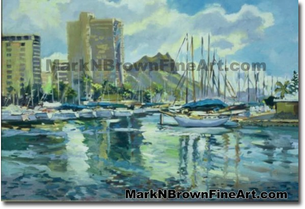 Ala Wai From Magic Island | Hawaii Art by Hawaiian Artist Mark N. Brown | P