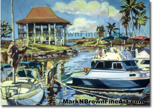 Haleiwa Harbor - 1 | Hawaii Art by Hawaiian Artist Mark N. Brown | Plein Ai