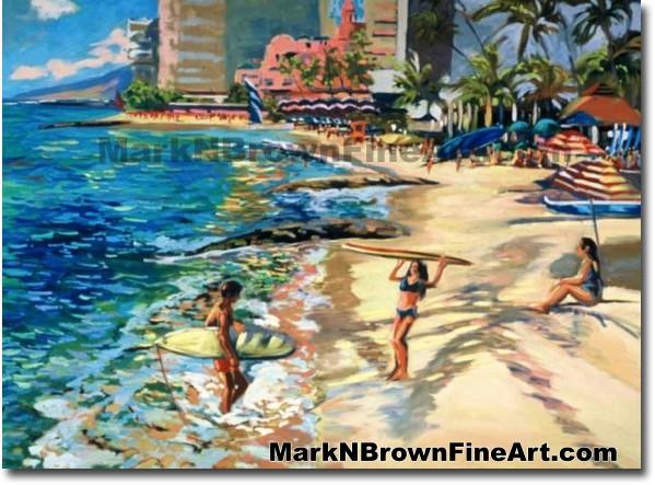 Surfers At Waikiki | Hawaii Art by Hawaiian Artist Mark N. Brown | Plein Ai
