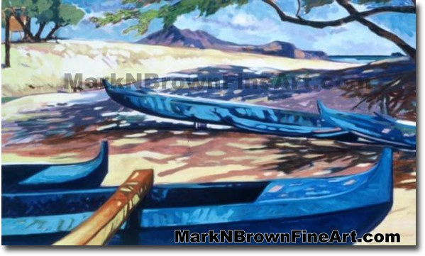Canoes At Kailua | Hawaii Art by Hawaiian Artist Mark N. Brown | Plein Air