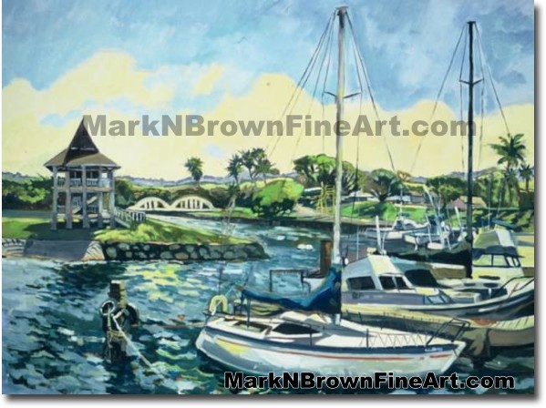 Haleiwa Harbor Series #2 | Hawaii Art by Hawaiian Artist Mark N. Brown | Pl
